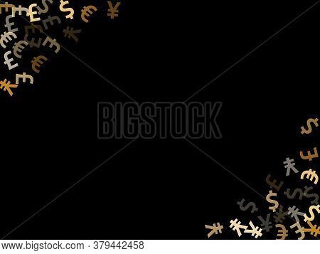 Euro Dollar Pound Yen Metallic Symbols Flying Currency Vector Illustration. Investment Pattern. Curr