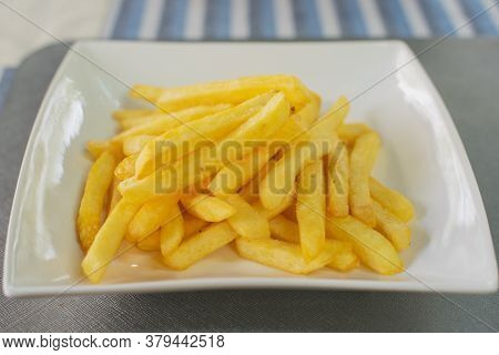 Close Up Snack And Dessert, Delicious Salted Crispy Breadsticks, French Fries In A Dish On Table Bac