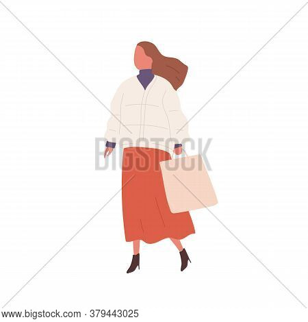 Stylish Girl With Handbag Demonstrate Spring Or Autumn Street Style Vector Flat Illustration. Trendy
