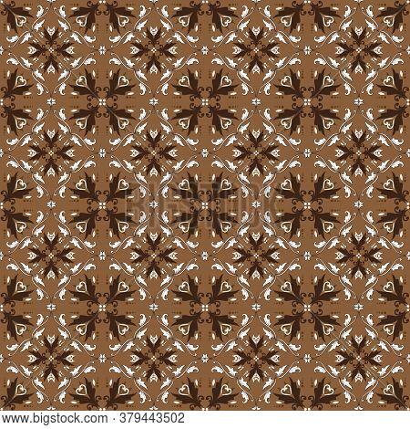 Vintage Flower Design Pattern For Jogja Batik Clothes With Elegant Brown Color Design.