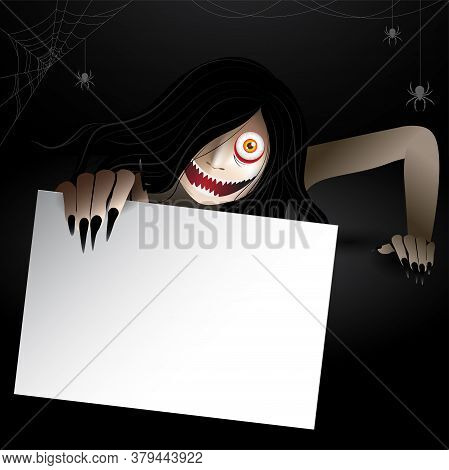Woman Scary Ghost Zombie, Ghost Creeping Character Holding A Empty Paper Frame For Text And Haunting