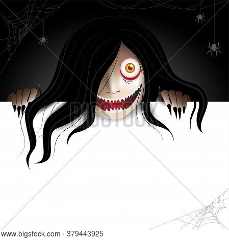 Woman Scary Ghost Zombie, Ghost Character Behind A Paper Frame For Text And Haunting In The Dark Wit