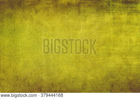 Abstract Old Grunge Texture Background With Yellow Gold, Old Vintage Background With A Glowing Cente