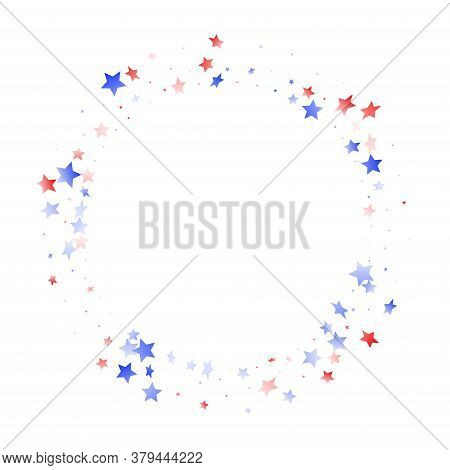 American Memorial Day Stars Background. Confetti In Us Flag Colors For Independence Day. Festive Red