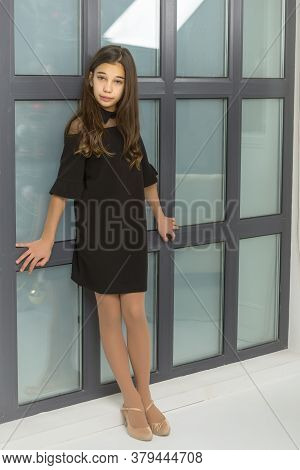 Beautiful Little Girl Posing In Studio Near A Large Panoramic Window