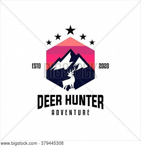 Adventure Logo Design With Mountains, Pine Trees, Deer Antlers, Survival Logo, Club Hunting