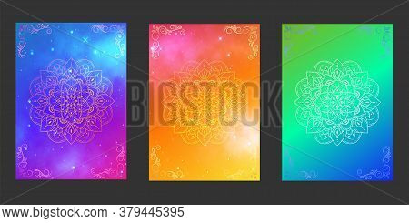Set Of Covers Mandala Design, Galaxy Nebula And Star With Floral Ornament Background, Pattern Of Cov