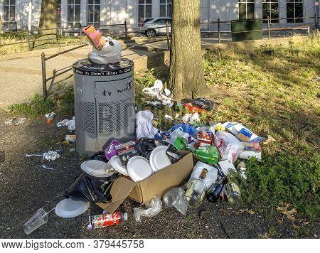 Bronx, New York/usa - August 2, 2020: Trash Builds Up At A Public Park Near Yankee Stadium Due To Bu