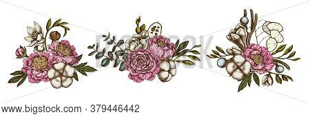 Flower Bouquet Of Colored Ficus, Eucalyptus, Peony, Cotton, Freesia, Brunia Stock Illustration