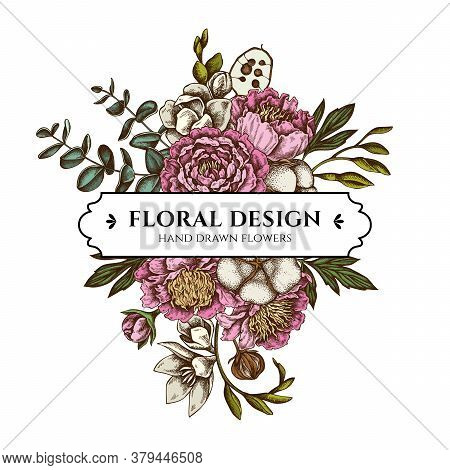 Floral Bouquet Design With Colored Ficus, Eucalyptus, Peony, Cotton, Freesia, Brunia Stock Illustrat
