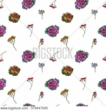 Seamless Pattern With Hand Drawn Colored Wax Flower, Forget Me Not Flower, Tansy, Ardisia, Brassica,