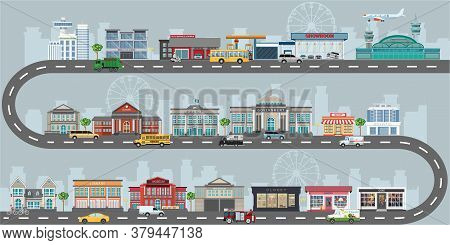 Set Of Buildings In The Style Of Small Business Flat Design. Architecture Of Public Building And Bus