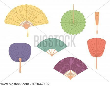 Asian Fans. Colored Hand Traditional Fan Set Isolated On White Background. Paper Folding Painting Ve