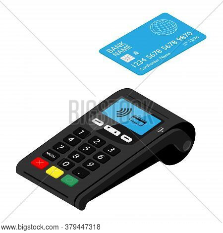 New Smart Pos Terminal Payment Machine With Bank Credit Card Isolated On White Background. Bank Paym