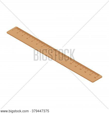 Retro Wooden Ruler Isolated On A White Background. Measuring Ruler. Isometric View. Vector
