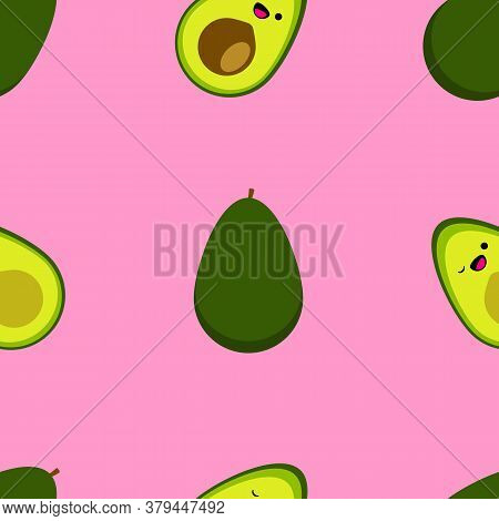 Seamless Pattern With Cute Cartoon Smiling Avocado On Pink Background. Tropical Abstract Background.