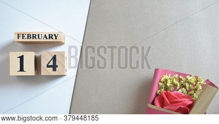 February 14, Cover Of Love With Rose Bouquet With Number Cube.