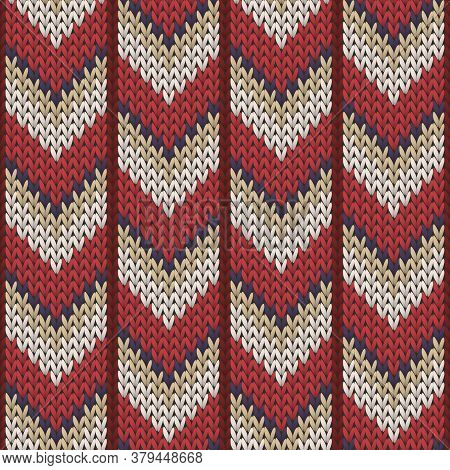 Fashionable Downward Arrow Lines Knitted Texture Geometric Seamless Pattern. Jacquard Knitwear Struc