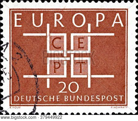 02 09 2020 Divnoe Stavropol Territory Russia The Postage Stamp Germany 1963 Europa Stamps Square Cru