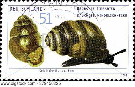 02 09 2020 Divnoe Stavropol Territory Russia Postage Stamp Germany 2002 Endangered Species Desmoulin