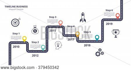 Business Timeline Infographics, Journey And Road Map With Steps And Icons.