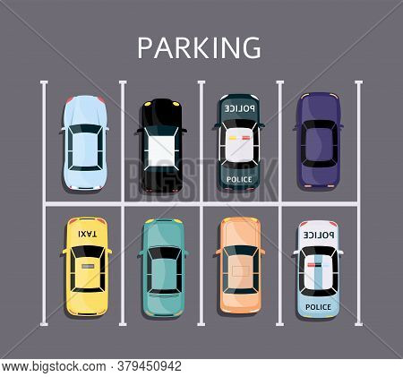 21 0515 Car Top View 02 Simfull Parking Lot Top View - Colorful Cars Parked In Rectangle Grid Vehicl