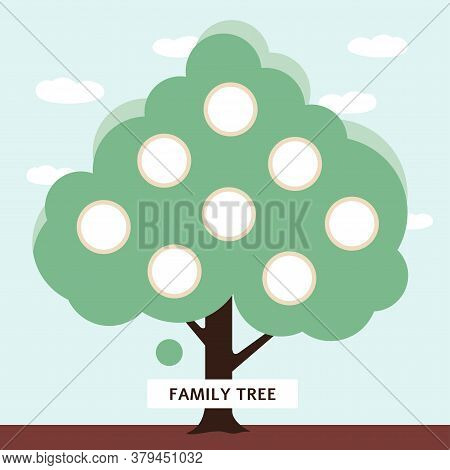 Family Tree With Blank Photo Frame Templates For Generation Lineage History Inside Relative Group