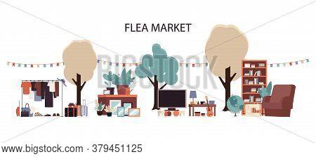 Flea Market - Flat Cartoon Furniture And Clothes Set On Outside Garage Sale