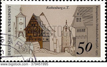 02 09 2020 Divnoe Stavropol Territory Russia The Postage Stamp Germany 1975 European Buildings Europ