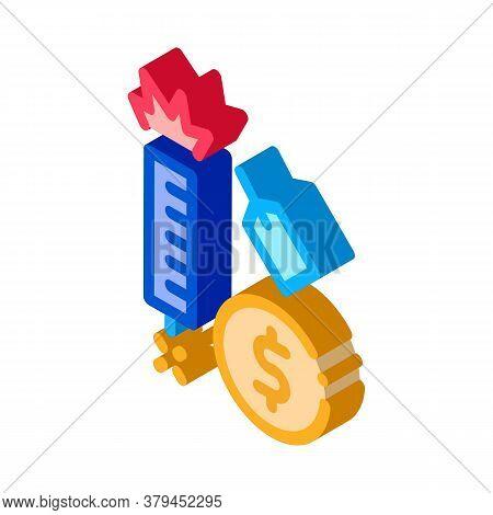 Firework Label Price Icon Vector. Isometric Firework Label Price Sign. Color Isolated Symbol Illustr