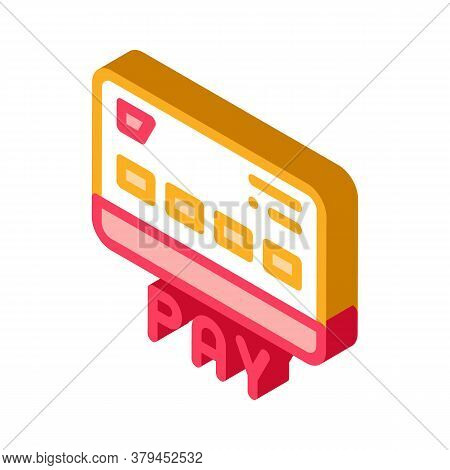 Webshop Payment Card Icon Vector. Isometric Webshop Payment Card Sign. Color Isolated Symbol Illustr