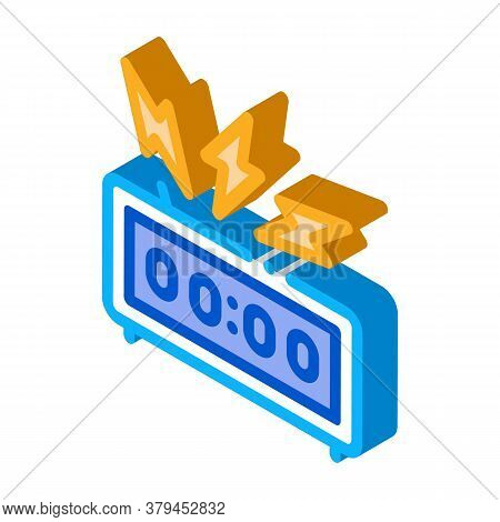 Watch Alarm Icon Vector. Isometric Watch Alarm Sign. Color Isolated Symbol Illustration