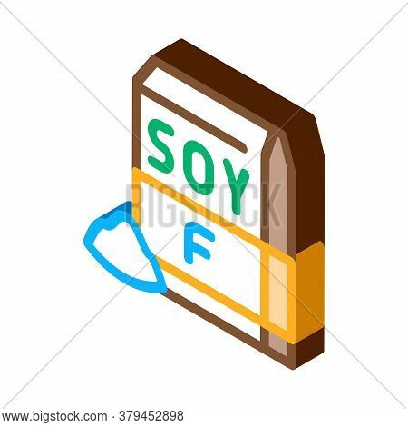 Soy Flour Package Icon Vector. Isometric Soy Flour Package Sign. Color Isolated Symbol Illustration