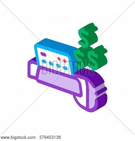 Pos Terminal Card Payment Icon Vector. Isometric Pos Terminal Card Payment Sign. Color Isolated Symb