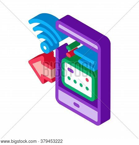 Pay Pass Smartphone App Icon Vector. Isometric Pay Pass Smartphone App Sign. Color Isolated Symbol I