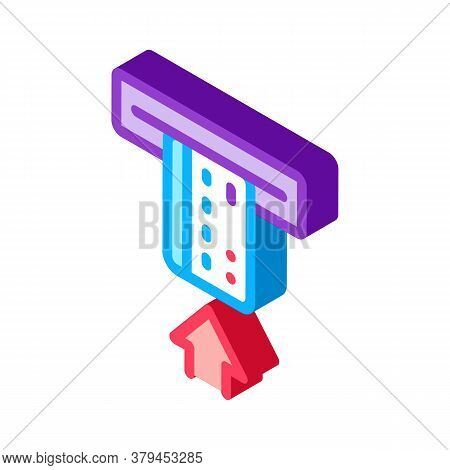 Card Insert In Bank Terminal Icon Vector. Isometric Card Insert In Bank Terminal Sign. Color Isolate