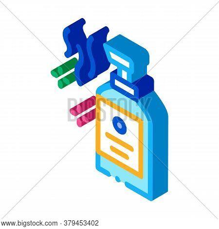 Aromatic Liquid Soap Bottle Icon Vector. Isometric Aromatic Liquid Soap Bottle Sign. Color Isolated