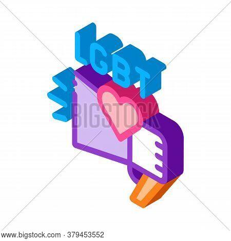 Lgbt Loudspeaker Icon Vector. Isometric Lgbt Loudspeaker Sign. Color Isolated Symbol Illustration