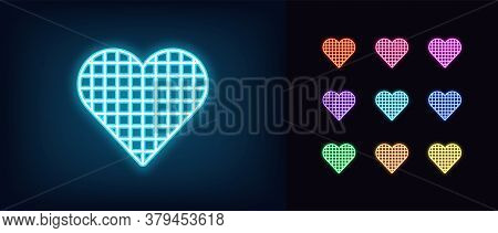 Neon Heart Icon. Glowing Neon Heart Sign With Checkered Texture, Amour Shape In Vivid Colors. Romant