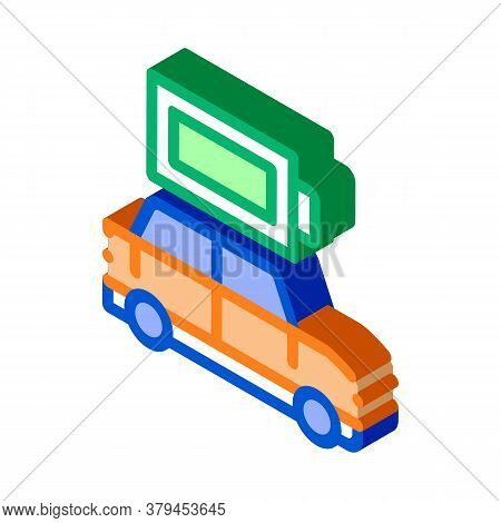 Electro Car Full Battery Icon Vector. Isometric Electro Car Full Battery Sign. Color Isolated Symbol
