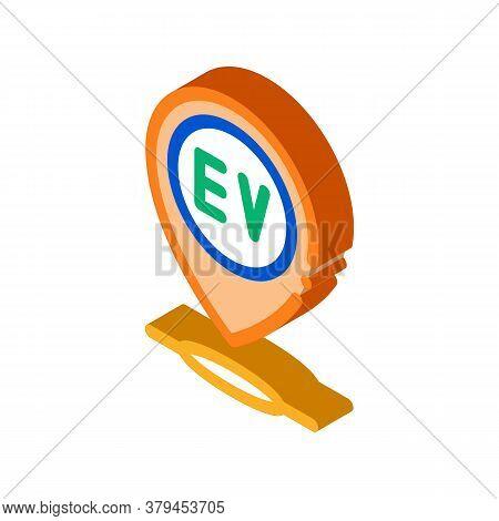 Electro Chard Station Gps Mark Icon Vector. Isometric Electro Chard Station Gps Mark Sign. Color Iso
