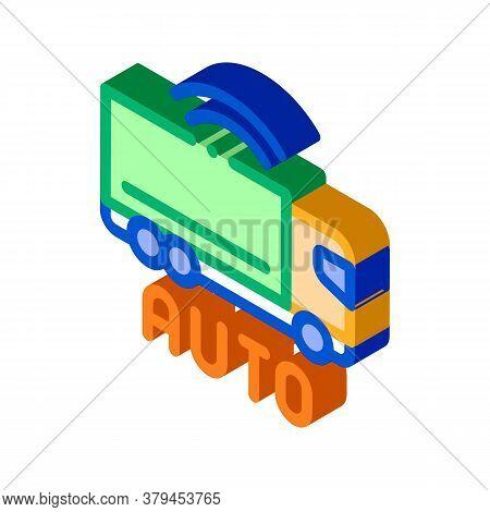 Electro Auto Truck Icon Vector. Isometric Electro Auto Truck Sign. Color Isolated Symbol Illustratio