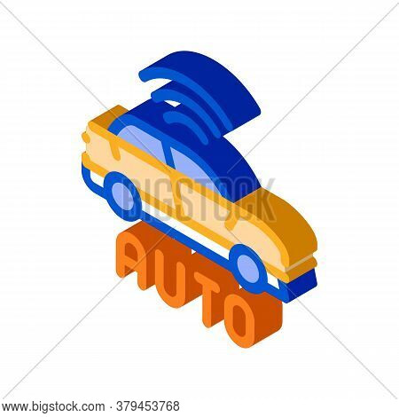 Electro Auto Car Icon Vector. Isometric Electro Auto Car Sign. Color Isolated Symbol Illustration