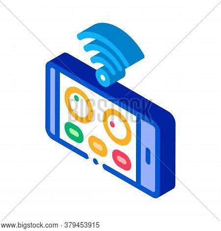 Drone Phone Application Remote Control Icon Vector. Isometric Drone Phone Application Remote Control