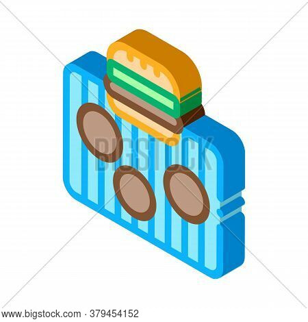 Bbq Meat For Burger Icon Vector. Isometric Bbq Meat For Burger Sign. Color Isolated Symbol Illustrat