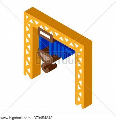 Industrial Crane Icon Vector. Isometric Industrial Crane Sign. Color Isolated Symbol Illustration