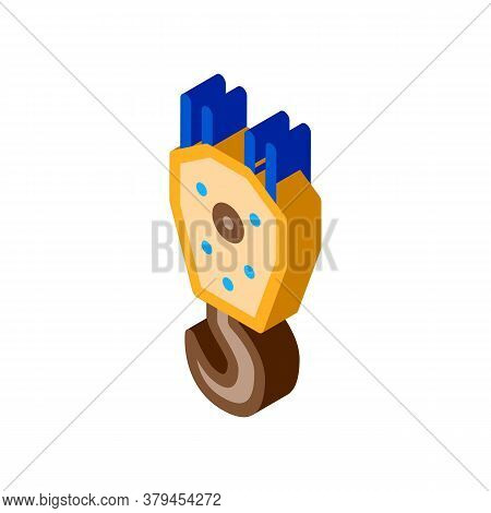Crane Hook For Lifting Icon Vector. Isometric Crane Hook For Lifting Sign. Color Isolated Symbol Ill