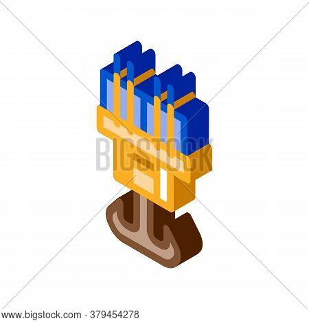 Steel Hook Icon Vector. Isometric Steel Hook Sign. Color Isolated Symbol Illustration