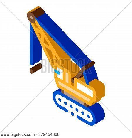 Crane Transport Icon Vector. Isometric Crane Transport Sign. Color Isolated Symbol Illustration