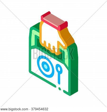 Food Container Delivery Icon Vector. Isometric Food Container Delivery Sign. Color Isolated Symbol I